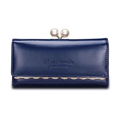 Velcro cerniera moda/Lady borsa lungo (colori assortiti)-Nero blu