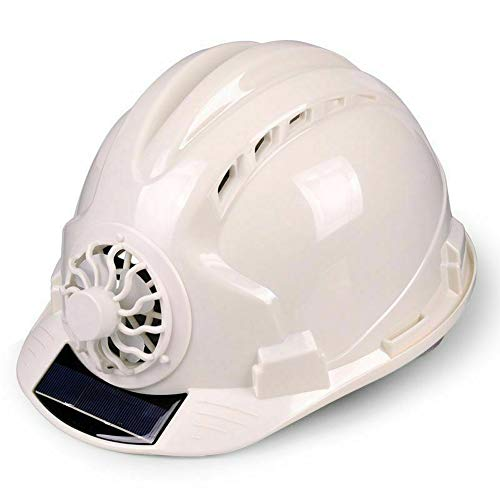 Guajave - Casco da Lavoro con Ventilatore Solare, Ventilazione, Protezione Solare, Impermeabile Bianco