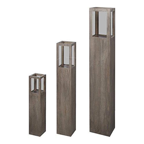 vidaXL Windlicht Säulen Set 3 tlg Dekosäule Windlichtsäule Kerzenständer Laterne