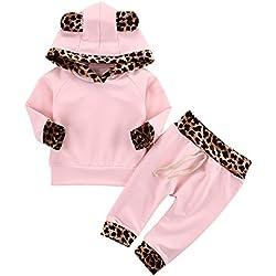 Chic-Chic Ensemble Sport Pyjama Vêtements de Nuit Enfant Fille Sweat-Shirt à Manches Longues Top + Pantalon Casual Impression Mignon pour Automne Hiver Léopard 0-6mois