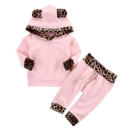 Chic-Chic Ensemble Sport Pyjama Vêtements de Nuit Enfant Fille Sweat-Shirt à Manches Longues Top + Pantalon Casual Impression Mignon pour Automne Hiver Léopard 6-12mois