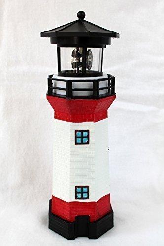 Solar Leuchtturm rot-weiss rotierendes LED-Licht 28 cm (Weiße Dach-lichter)
