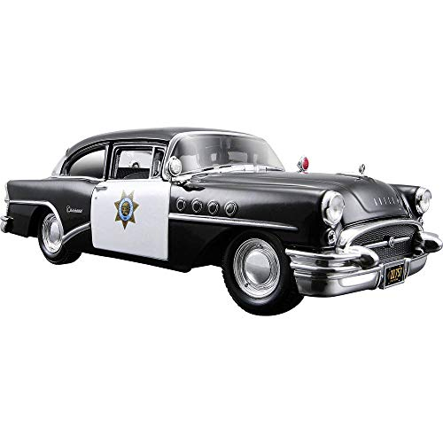 Maisto Buick Century '55 Polizei: Originalgetreues Modellauto 1:24, Türen und Motorhaube zum Öffnen, Fertigmodell, 20 cm, schwarz (531295)