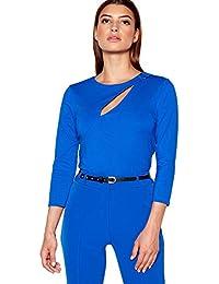 57f1388119126 Debenhams Star by Julien Macdonald Womens Bright Blue Peekaboo Ponte Top 16