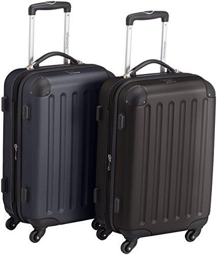 HAUPTSTADTKOFFER - Spree - 2er Koffer-Set Handgepäck Hartschale matt, TSA, 55 cm, 49 Liter, Schwarz-Dunkelblau