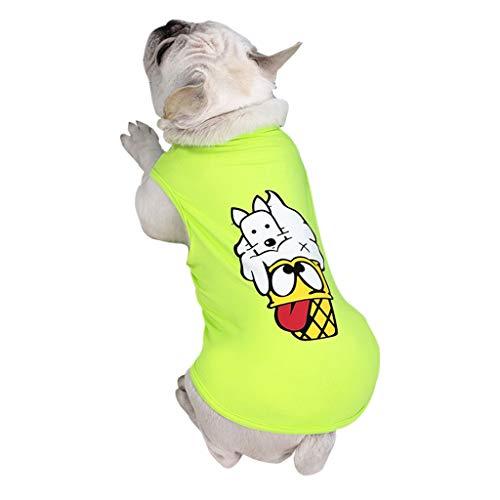T.boys's Haustier Pet Shirt Welpen T-Shirt Herbst Weiches Komfort Kostüme Super süße Welpen Weste Dog Shirt weiches Sweatshirt ärmelloses Kostüm für kleine Hunde (Green, XL)