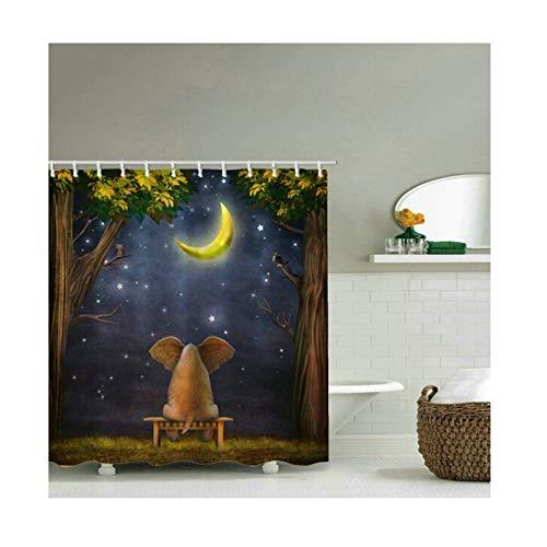Coniea Bad Vorhang Antischimmel Elefant Und Mond Bunt Bad Vorhang Antischimmel 180X200Cm