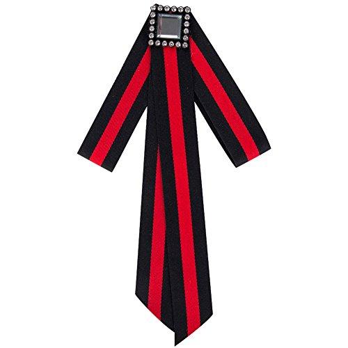 parkho Premium Stripe Brosche Schleife gebunden Hals Krawatte Broschen Pin Fliege Halsband Schmuck baumeln Hochzeit Party Fliege Schwarz