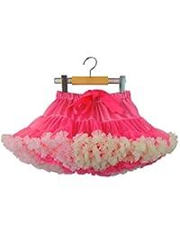 En capas de tul plisado falda del tutú de las niñas pequeñas para la fiesta de Navidad de 5-7 años / M, Rose