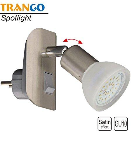 Trango TG11-042 LED Steckerleuchte Nachtlicht in Edelstahl-Look inkl. 1x 3000K warm-weiß LED Leuchtmittel & ON/OFF Schalter