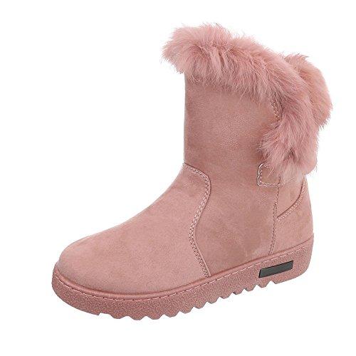 Schnürstiefeletten Damen-Schuhe Klassischer Stiefel Warm Gefütterte Ital-Design Stiefeletten Altrosa, Gr 39, An238-