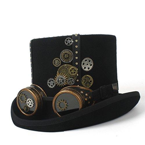 LIXUE Steampunk Hut schwarz Filz Steampunk Zylinder mit Gold Metall Band, Zahnräder, Patronen (Farbe : Schwarz, Größe : 61 cm)