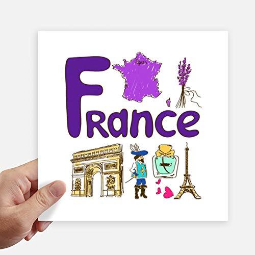 DIYthinker Frankreich Nationales Symbol Zeichen-Muster-Quadrat-Aufkleber 20Cm Wand Koffer Laptop Motobike Aufkleber 4Pcs 20cm x 20cm Mehrfarbig