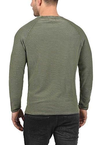 BLEND Oddone Herren Strickpullover Feinstrick Pulli mit Rundhals-Ausschnitt aus 100% Baumwolle Dusty Olive Green (77203)