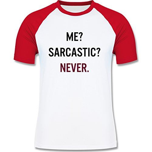 Shirtracer Statement Shirts - Me? Sarcastic ? Never - Herren Baseball Shirt Weiß/Rot