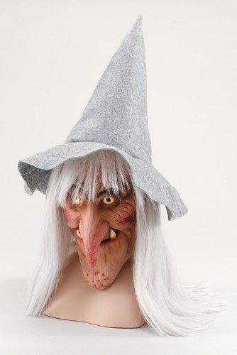 Hexen Maske in grau Hut und Haare