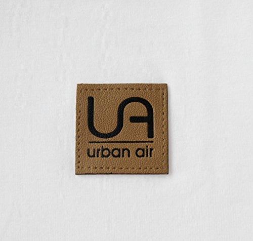 urban air StyleFit | T-Shirt Basic | Herren | Sport und Freizeit | 95% Baumwolle, Leder-Patch, Kurzarm | Weiß, Schwarz, oder Hell/Dunkel Grau | S, M, L, XL Weiß