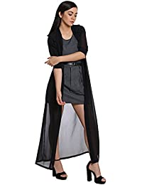 The Silhouette Store Black Solid Maxi Shrug with Roll-up Sleeves