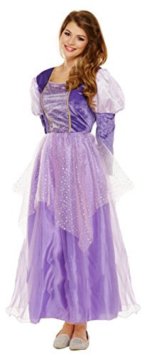 Emmas Kleiderschrank Lila Prinzessin-Kleid-Kostüm - Mit Langen lila Kleid - Frauen Märchen Halloween-Kostüm - Made UK Größen 8-16 (Women: 34, Purple) (Storybook Belle Kostüm)