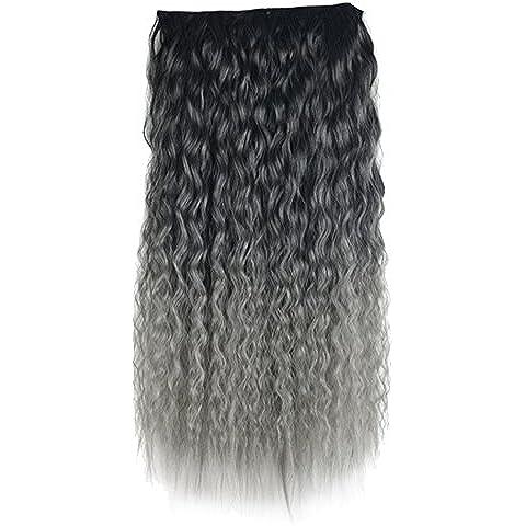 Vococal - 60cm Largo Rizada Clip en la Extensión del Cabello / Postizos / Pelucas de pelo con Estilo de Onda de Maíz (Negro a Gris)