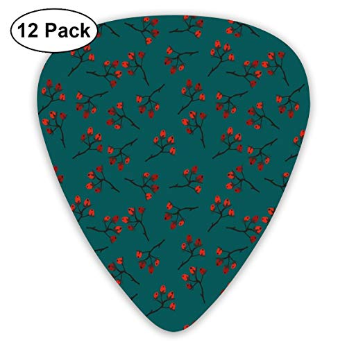 act Art Colorful Designs,Whimsical Modern Style Berry Christmas Pattern Hand Drawn Rustic Traditional,Unique Guitar Gift,For Bass Electric & Acoustic Guitars-12 Pack ()