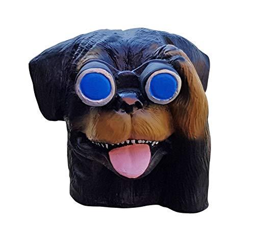 Fachhandel Plus Hund mit Fernglas Gartenfigur Spanner für Innen und Außen Dekofigur Rotti