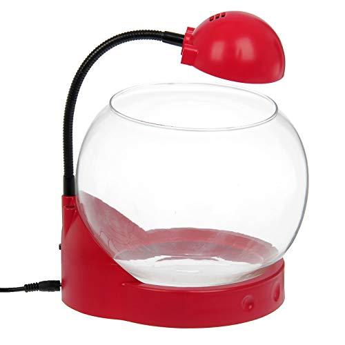 takestop® Mini Aquarium Lampe AMPOLLA Tg01 Kapazität 2 Liter mit 3 LED Incorporation Desing SCRIVANIA Büro 20x19x27cm Farbe Casual 2 Liter Mini