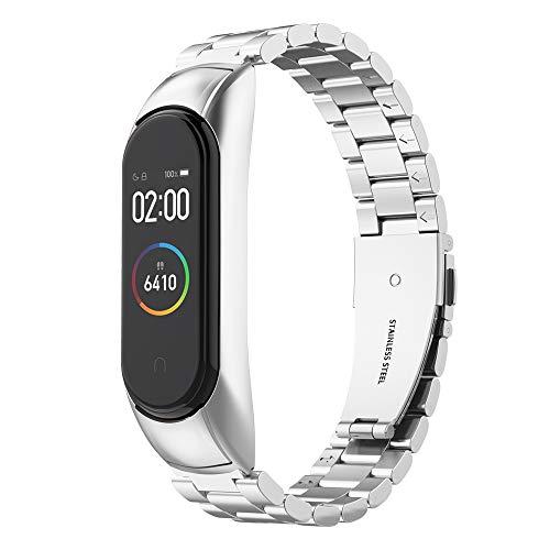 Simpeak Armband Kompatibel mit Xiaomi Mi Band 4 (5.5\'\'-8.1\'\'), Edelstahl Uhrenarmband Armbänder mit Metallschließe Kompatibel für Mi Band 4 - Silber