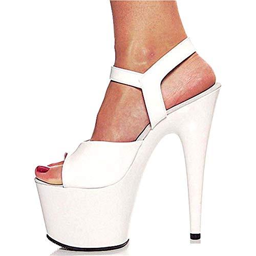 GHFJDO Damen Plattform Schuhe PU Sommer Herbst Slingback Pumps Sandalen Chunky Ferse Runde Kappe Weiß Schwarz Rot Party & Abend,White,44EU - Funky High Heel-schuhe