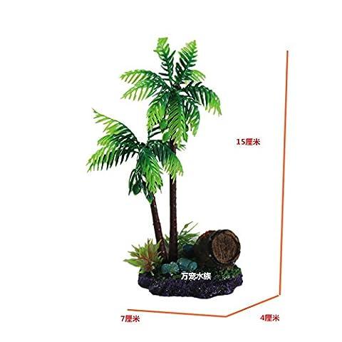 Suunhh Fish Tank Ornement de pierre d'aménagement paysager Décoration palmier la simulation d'eau Tortue Réservoir tonneaux de vin 7*4*15cm