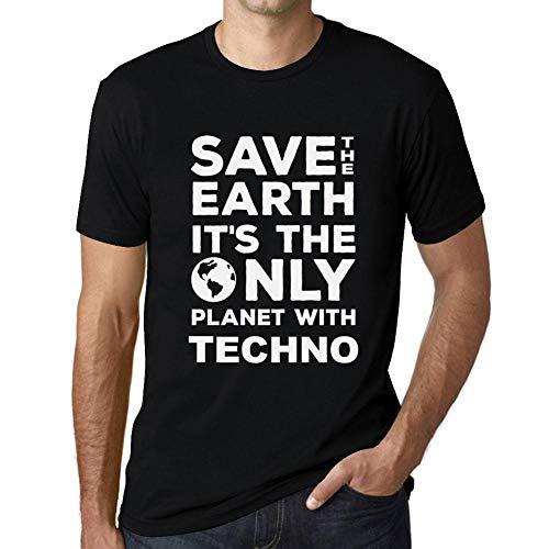 Cityone Uomo Maglietta Tee Vintage T Shirt Save The Earth Techno Profondo  Nero Testo Bianco