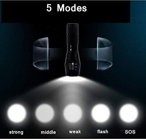 Ultra Luminoso 1200 LM,IPX-6 Impermeabile, regolabile Focus XML T6, 5 modalit/à di illuminazione Torcia portatile campeggio impermeabile 5 modalit/à luce Constefire super luminosotattico torcia
