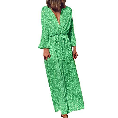 TEFIIR T-Shirt für Frauen, Preisnachlass für Oktoberfest, Leistungsverhältnis Frauen-Kreuz-Aufflackern-Hülsen-Böhmen-Blumendruck-Bogen-Verband-langes Maxi Kleid für Urlaub und Dating -