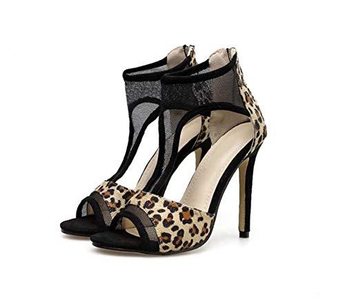 11.5cm Stiletto Pump D ' Orsay Sandals Frauen Sexy Peep Toe Leopard Print Mesh T-Strap OL Court Schuhe Eu Size 35-40,Leopardprint,39EU Leopard Print Peep Toe