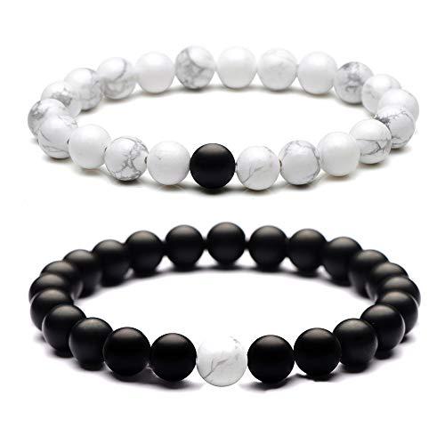 tner Armbänder mit 8mm Perlen Armband, 2pcs Schwarz Matte und weiß Armband mit Geschenkkarton geliefert ()