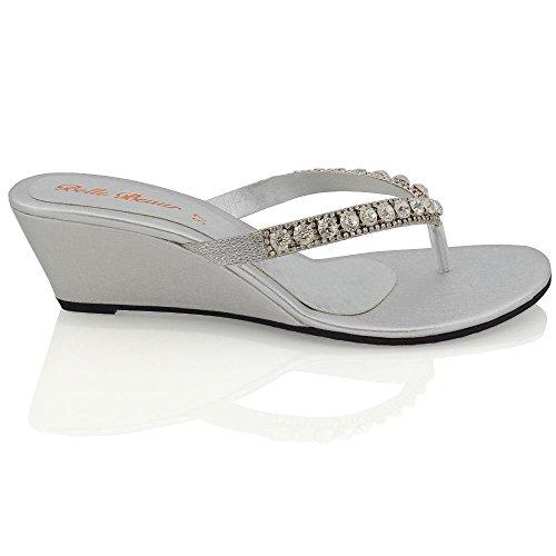 Essex Glam Damen Keilabsatz Zehentrenne Thong Sandalen mit gehäuften Schmucksteinen Silber