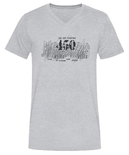 The City Evolution Uomo V-Collo T-shirt Grigio Cotone Maniche Corte Grey Men's V-neck T-shirt