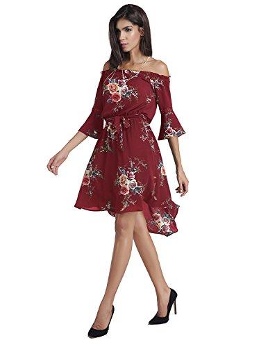CARINACOCO Damen Strandkleid mit Wohnung Schultern und Blüte Drucken Trompete Ärmel Unregelmäßig Sommerkleid Abendkleid Partykleid Rot