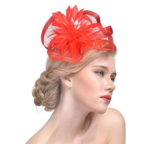 Xmiral Damen Stirnband Blume Mesh Ribbons Federn Stirnband Cocktail Abend Party Hut Headwear für Frauen