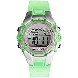 Girls LED Quartz Alarm Date Waterproof Sports Digital Wrist Watch -Green