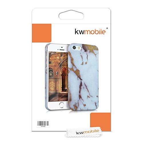 kwmobile Étui rigide Design marbre pour Apple iPhone SE / 5 / 5S en noir blanc marbre blanc doré