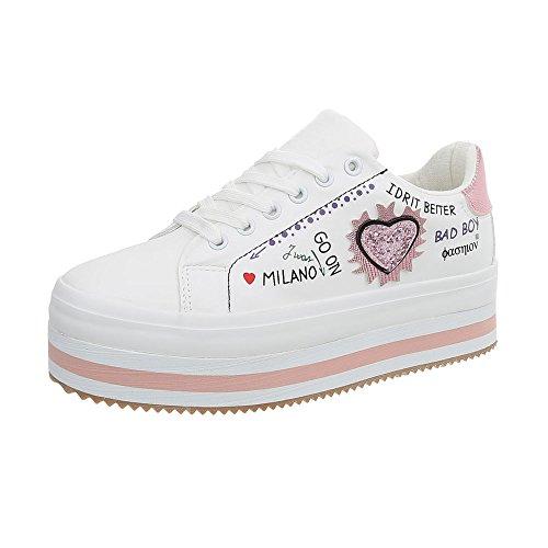 Ital-Design Sneakers Low Damen-Schuhe Schnürsenkel Freizeitschuhe Weiß Rosa, Gr 40, G-129-