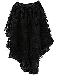 Damen Vintage Steam Punk Rock Gothic Chiffon Spitze Cocktail Party Kostüm  Slip Schwarz Mesh Hohe Taille e9811aab2d
