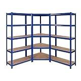 Schwerlast-Eckregal-Set, 1 Eckeinheit, 1500 mm x 750 mm x 300 mm & 2 Regalböden, 1500 mm H x 750 mm B x 300 mm T, große Tragkraft von 2250 kg