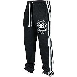 Fuibo Pantalon Homme Clearance De Sport De Survêtement Élastique Printemps Doux Et Confortable Mode Basique Jogger Sweatpants Grande Taille S-3XL (Black, 3XL)