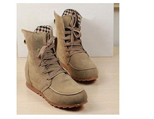 Textilfutter Boots Beige Kunstleder Flache Herbst Gaorui Damen Winter Grün Grau Schwary Kurzschaft Ankle Schnürstiefeletten nAn08xX7