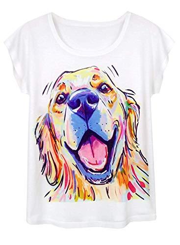 Doballa Damen Pitbull Hund T-Shirt Lustige Muster Kurzarm Niedlich Oberteile, Golden Retriever, XL - Graphic Damen Niedlich T-shirts
