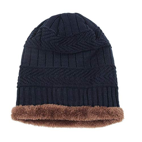 Yourig 2pcs Warm Windproof Knitted Hat Winter Men Beanies Neck Warmer (Navy Blue)