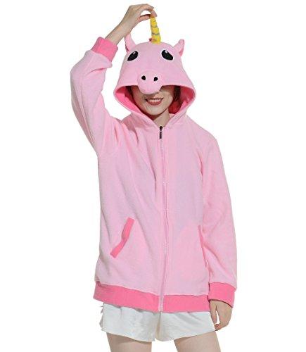 Fandecie Erwachsene Unisex Tierkostüme Cosplay Kostüm Hoodies Zipper Sportbekleidung Lässige Jacket Coat Kapuzen Pink Einhorn Geeignet für Hohe ()