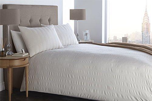 Gerüscht Pintuck Streifen weiß doppelte Baumwolle-Mischung Bettwäsche Tröster,